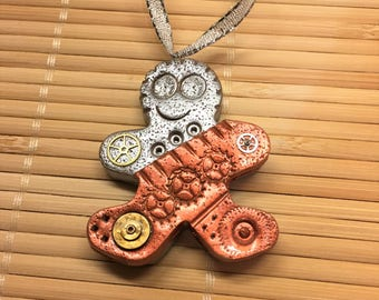 Industrial Style Gingerbread Man Christmas Ornament -  Steampunk Holiday Decor Ready to Ship style 12