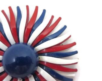 Enamel Flower Brooch - Red White Blue Patriotic Daisy Retro Costume Jewelry July 4th