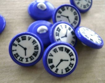 Set of 3 round buttons, clock, violet and white pattern, diameter 15 mm