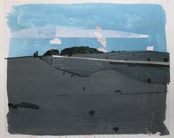 Line, Original Landscape Collage Painting on Paper, Stooshinoff