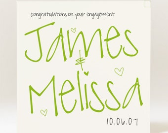Personalised Handmade Engagement Card with couples' names
