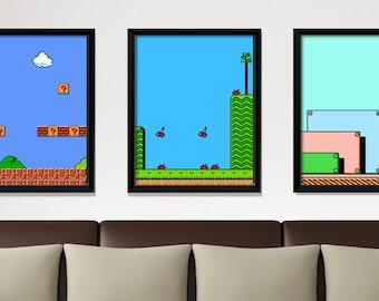 Super Mario, video game poster, Nintendo poster, geek print, classic game, kids room art