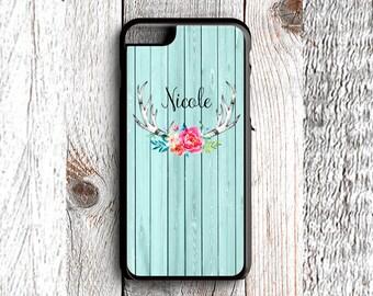 Rustic Floral Deer Antlers - Monogrammed - iPhone 6s, iPhone 6s Plus, iPhone 7s, iPhone 7s Plus, Samsung S6 Phone Case