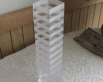 Striped Glass Vase Mid Century Modern Home Décor Vintage Florist Ware Flower and Decorative Vases Centerpiece and Gifts