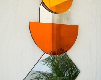 Modern Mid Century Style Mirrors in Silver Amber and Orange