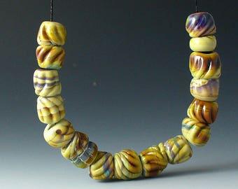 ampwork BeaLds/SRA au chalumeau/perles/bio/nuggets/sculpté/multicolore/terreux/automne/automne /