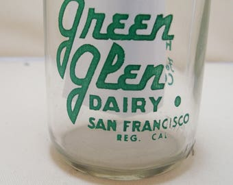 Rare Green Glen Dairy San Francsico Cal Half Pint  Milk Bottle, Milk Bottle Collectible, San Francisco, CA Dairy