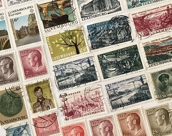 Vintage Luxembourg Cancelled Postage Stamps / lot of 38 off-paper stamps from Luxembourg / canceled stamps - crafting stamps paper ephemera