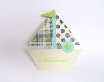 Handmade card birthday boy boat blue and green polka dots and stripes