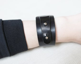 Wide natural leather black handmade bracelet for women perfect gift for her