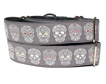 DAY Of THE DEAD, martingale collar, dog collar, Dia De Los Muertos, Safety Collar, Greyhound Collar, Sighthound Collar, Adjustable collar