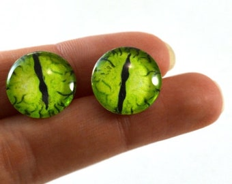 SALE 16mm Lime Green Dragon Glass Eye Cabochons - Taxidermy Eyes for Doll or Jewelry Making - Set of 2