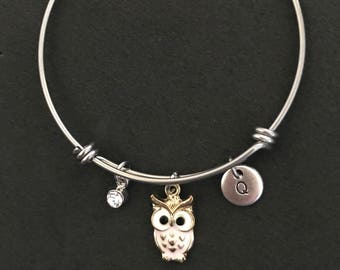 Personalized Owl Bangle Personalized Owl Bracelet Owl Jewelry