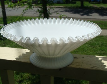 Antique Crested Ruffled Brim Bowl Large Size Centerpiece Fruit Bowl Ribbed With Fine Rib Pattern On Milk White Glass Unsigned Silvercrest
