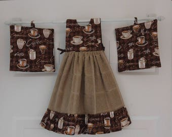Coffee themed ruffled dress kitchen towel set
