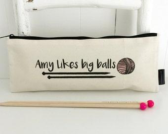 Personalised Big Balls   Knitting Needle Bag   Knitting Needle Storage   Funny Knitting Bag   Personalised Knitting Bag   Knitting Gift