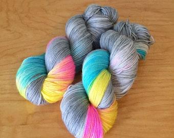 "Hand-Dyed Sock Yarn ""Silver Lining"" Merino Wool Nylon Variegated 4 Ply Fingering Weight Yarn"