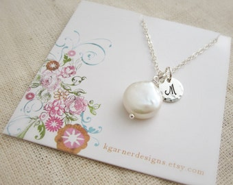 Monogram bridesmaid necklace, coin pearl necklace, sterling silver initial, personalized bridesmaid gift, cursuve script letter necklace