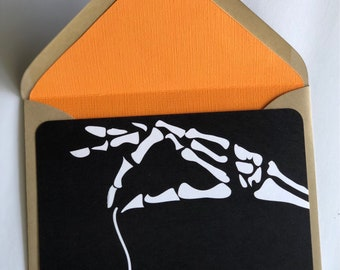 Skelly Hand 5x7 Card with Lined Envelope, postcard, bone, hand, halloween