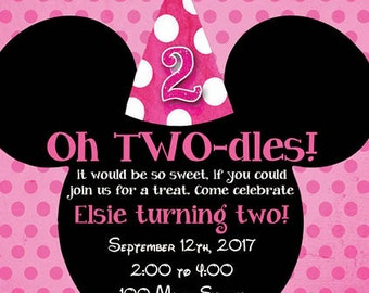 Girl Pink Polka Dot Invite - Twoodles Mouse - Two Year Birthday - Birthday Invite - Pink Mouse Invite - Digital Invitation - Printable