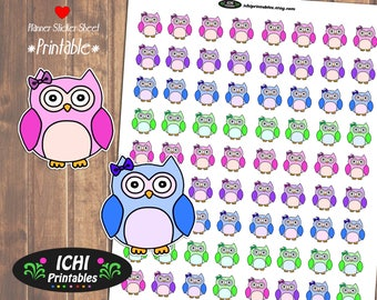 Owl Printable Planner Stickers, Owl Planner Stickers, Cute Owls, Printable Stickers, Woodland Stickers, Forest Animal Stickers, Functional