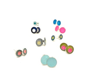 Resin Studs in sterling silver, Resin studs, silver studs, tiny studs, colorful studs, silver stud earrings