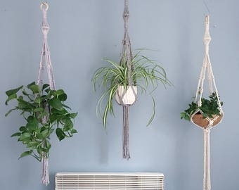 Modern Lantern Macrame Plant Hanger / Handmade Hanging Planter / Available in Grey and Natural
