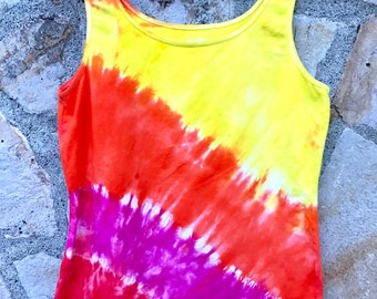 Tequila Sunrise Ladies Tie-dye Tank Top, Size Large