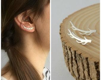 Deer antlers ear climbers sterling silver woodland earrings