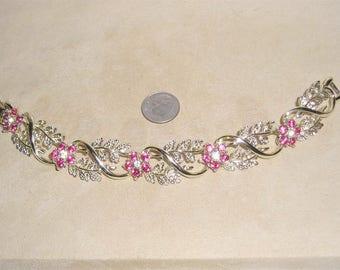 Vintage Coro Pink Rhinestone Bracelet 1960's Signed Jewelry 10018