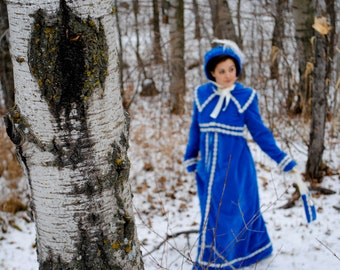CUSTOM Regency Jane Austen dress Spencer Jacket Pelisse Militia P & P Redingote in Velvet with bonnet and reticule