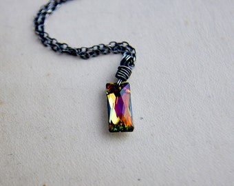 Crystal Necklace, Prism Necklace, Rainbow Crystal, Crystal Pendant, Swarovski Crystal, Geometric Necklace, Wire Wrapped, Sterling Silver