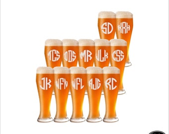 SHIPS FAST - 12 Groomsmen Gifts, Personalized Pilsner Glasses, Custom Beer Glasses, Engraved Pilsner Glasses, Etched Groomsmen Glasses
