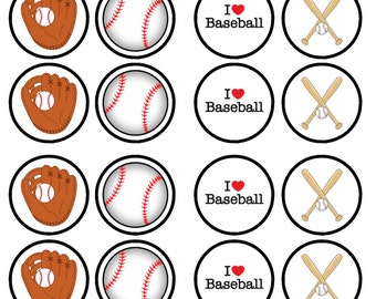 Baseball Edible Wafer Rice Paper Cake Cupcake Toppers x 24 PRECUT