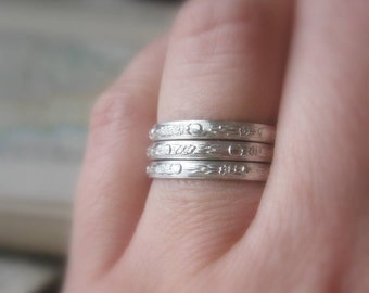 Stacking Rings Sterling Silver Moon Flowers Pattern Set of Three Size 6 ready to ship