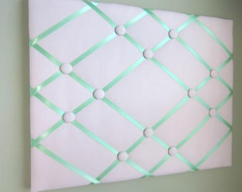 "16""x20"" Memory Board, Bow Board, Bow Holder, Vision Board, Photograph Holder, Ribbon Board, Business Card Holder, Pink & Mint Green, Drea"