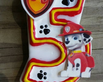 Fire Pup Birthday Candle