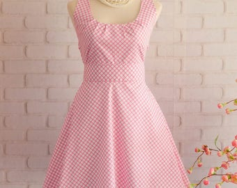 Pink Dress Pink Plaid Dress Pink Prom Dress Pink Party Dress Pink Bridesmaid Dresses Pink Sundress Spring Summer Dresses
