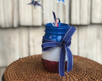 Red white and blue Pint Mason Jar