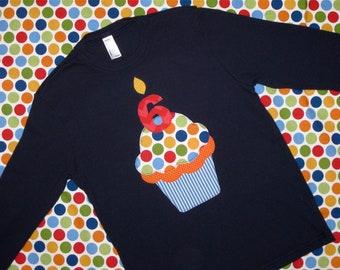 Navy Birthday Cupcake Kids Shirt, Kids Birthday Shirt, Boys Birthday Shirt, Cupcake Shirt, First Birthday, Second Birthday, Third Birthday