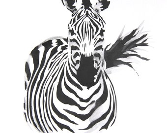 Original Watercolor Painting, Not Print, 9.4 inch x 12.6 inch, Zebra, Black and White, 25032016036mWTZBBW