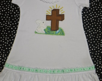 Easter Dress, Bunny easter dress, Cross Easter Dress