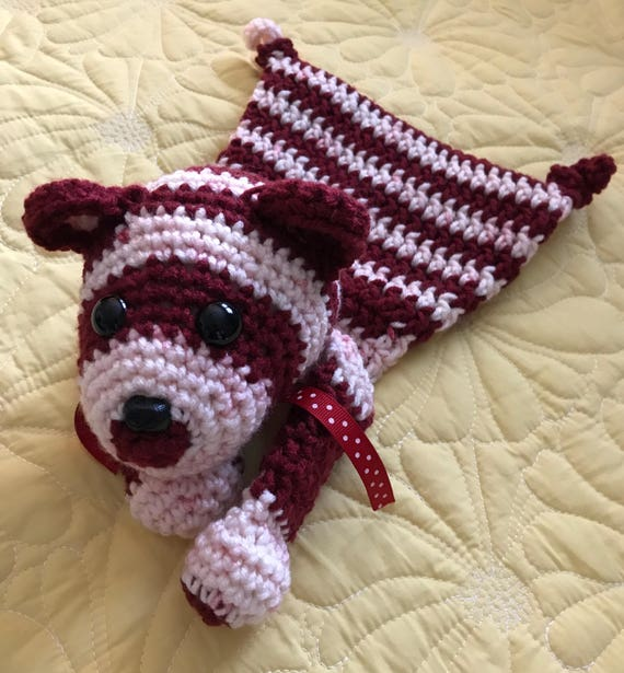 Red and White Striped Baby Bear Rag Doll Toy/Lovey