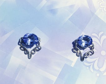 Blue Princess Earrings, Sterling Silver Earrings, Synthetic Aquamarine Earrings, Blue Post Earrings, Prong-set Gemstone Earrings