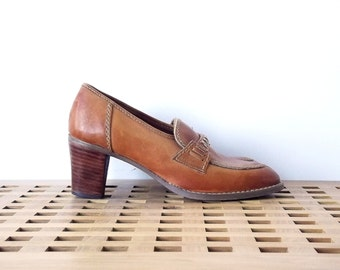 Leather womens loafers - honey, caramel, light brown - US size 6,5