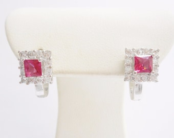 Sterling Silver Red & White Cubic Zirconia Earrings #2994