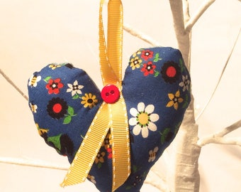 Crafty Christmas! Handmade Hand Stitched Stuffed Heart Christmas Ornament/Shabby Country Cottage Chic/Gift/Love/Cute