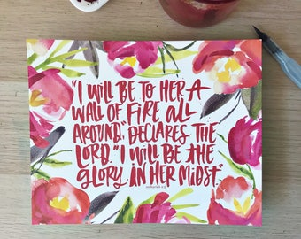 Wall of Fire Hand Lettered Print - Zechariah 2:5