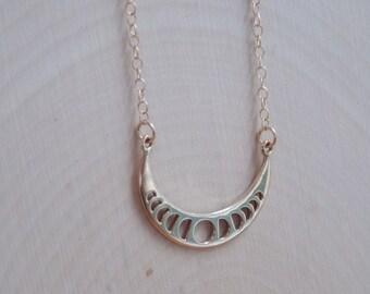 Moon Necklace: celestial charm, moon charm, Gold Moon, Gold Moon Charm, moon phases, Gold moon necklace, crescent moon, moon