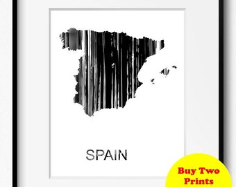 Spain Watercolor Map Black and White Art Print (896) Europe